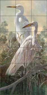 Graceful Egrets by Robert E Binks Ceramic Tile Mural REB021