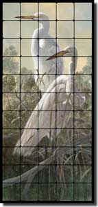 "Binks Wildlife Egrets Tumbled Marble Tile Mural 20"" x 44"" - REB021"