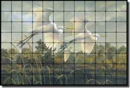 "Binks Egrets Birds Tumbled Marble Tile Mural 48"" x 32"" - REB023"