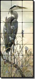 "Binks Heron Bird Tumbled Marble Tile Mural 12"" x 28"" - REB024"