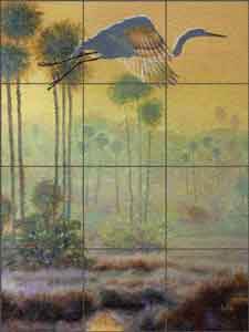 Binks Egret Wildlife Bird Glass Tile Mural - REB026