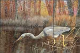 Binks Heron Wildlife Bird Ceramic Tile Mural - REB027