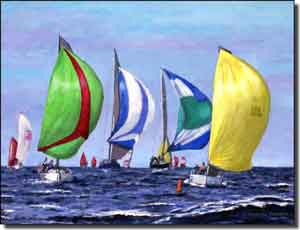 "Franklin Nautical Sailboats Ceramic Accent Tile 8"" x 6"" - RFA008AT"