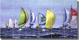 "Franklin Nautical Sailboats Floor Tile Mural 48"" x 24"" - RFA008"