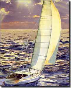 "Franklin Nautical Sailboat Ceramic Accent Tile 8"" x 10"" - RFA010AT"