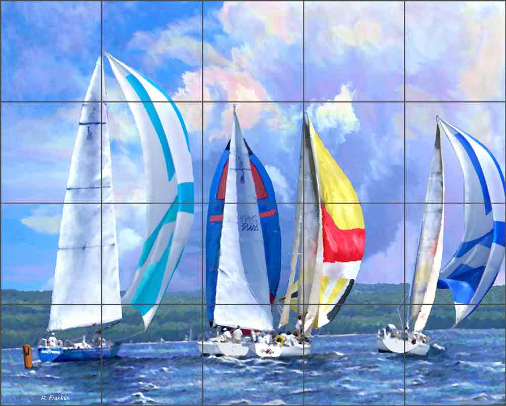 Windward Mark by Raenette Franklin Ceramic Tile Mural RFA015