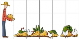 Flynn Chickens Country Life Ceramic Tile Mural - RTD007