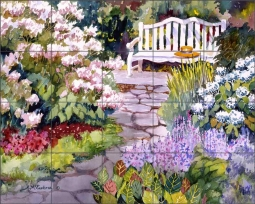 Garden Bench by Ann McEachron Ceramic Tile Mural RW-AM004
