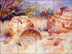Indian Pottery and Shards by Ann McEachron Ceramic Tile Mural RW-AM006