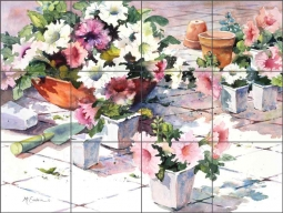Petunias on White Tile by Ann McEachron Ceramic Tile Mural RW-AM009
