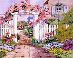 Rose Arbor by Ann McEachron Ceramic Tile Mural RW-AM010