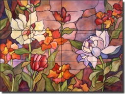 "McEachron Flowers Floral Glass Tile Mural 24"" x 18"" - RW-AM011"