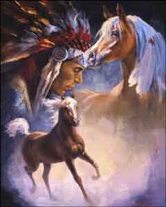 "Watson Native American Horses Ceramic Accent Tile 8"" x 10"" - RW-DW007AT"