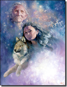 "Watson Native American Wolf Ceramic Accent Tile 6"" x 8"" - RW-DW008AT"