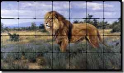 "Aldrich Lion Animal Tumbled Marble Tile Mural 28"" x 16"" - RW-EA002"