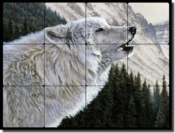 "Aldrich Wolf Animal Tumbled Marble Tile Mural 24"" x 18"" - RW-EA004"