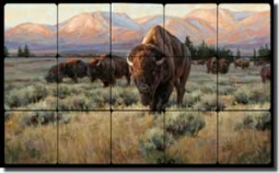 "Aldrich Buffalo Bison Tumbled Marble Tile Mural 20"" x 12"" - RW-EA011"