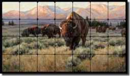 "Aldrich Buffalo Bison Tumbled Marble Tile Mural 28"" x 16"" - RW-EA011"