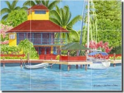 "Drew Tropical Waterfront Glass Wall Floor Tile Mural 24"" x 18"" - RW-EJD006"