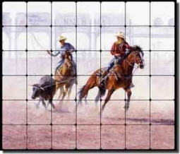 "Rey Cowboys Rodeo Tumbled Marble Tile Mural 28"" x 24"" - RW-JRA002"