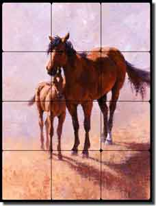"Rey Mustang Horses Tumbled Marble Tile Mural 18"" x 24"" - RW-JRA003"