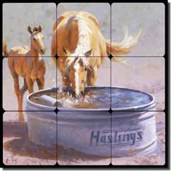 "Rey Horses Equine Tumbled Marble Tile Mural 12"" x 12"" - RW-JRA004"