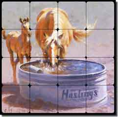 "Rey Horses Equine Tumbled Marble Tile Mural 16"" x 16"" - RW-JRA004"