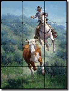 "Rey Western Cowboy Tumbled Marble Tile Mural 12"" x 16"" - RW-JRA005"