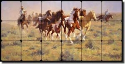 "Rey Western Horses Tumbled Marble Tile Mural 24"" x 12"" - RW-JRA006"