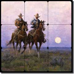 "Rey Western Cowboys Tumbled Marble Tile Mural 12"" x 12"" - RW-JRA007"