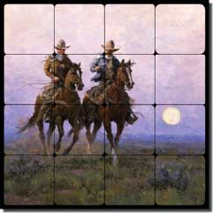 "Rey Western Cowboys Tumbled Marble Tile Mural 16"" x 16"" - RW-JRA007"