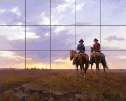 The Home Ranch and Sunset by Jim Rey Ceramic Tile Mural - RW-JRA008