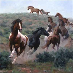 Rey Western Horses Ceramic Accent Tile RW-JRA009AT