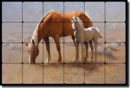 "Rey Horses Equine Tumbled Marble Tile Mural 24"" x 16"" - RW-JRA012"