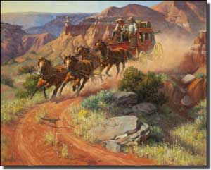 "Sorenson Western Stagecoach Ceramic Accent Tile 10"" x 8"" - RW-JS001AT"