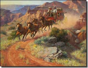 "Sorenson Western Stagecoach Ceramic Accent Tile 8"" x 6"" - RW-JS001AT"