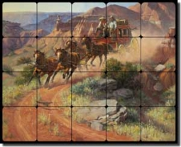 "Sorenson Western Stagecoach Tumbled Marble Tile Mural 20"" x 16"" - RW-JS001"