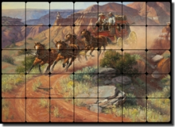 "Sorenson Western Stagecoach Tumbled Marble Tile Mural 28"" x 20"" - RW-JS001"