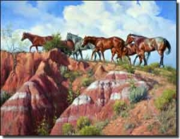 "Sorenson Western Horses Ceramic Accent & Decor Tile 8"" x 6"" - RW-JS003AT"