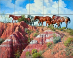 Colored Clay and Quarter Horses by Jack Sorenson Ceramic Tile Mural RW-JS003