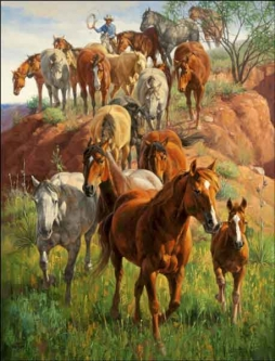 Sorenson Western Horses Ceramic Accent & Decor Tile - RW-JS004AT