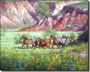 "Sorenson Western Horses Ceramic Accent Tile 10"" x 8"" - RW-JS006AT"