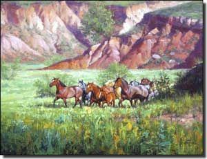 "Sorenson Western Horses Ceramic Accent Tile 8"" x 6"" - RW-JS006AT"