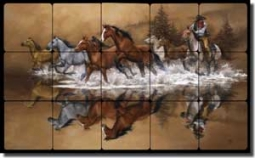 "Stolen Horses by Jack Sorenson Tumbled Marble Tile Mural 30"" x 18"" - RW-JS007"