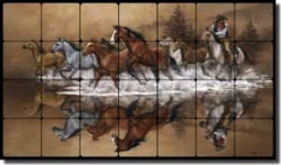 "Stolen Horses by Jack Sorenson Tumbled Marble Tile Mural 28"" x 16"" - RW-JS007"