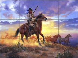 The Horse Thief by Jack Sorenson Ceramic Tile Mural - RW-JS012