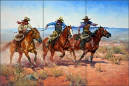 A Run for Their Money by Jack Sorenson Ceramic Tile Mural RW-JS013