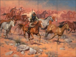 Fine Horses and Bad Men by Jack Sorenson Ceramic Tile Mural RW-JS017
