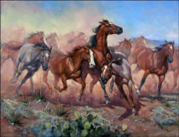 Sorenson Western Horses Ceramic Accent Tile - RW-JS021AT