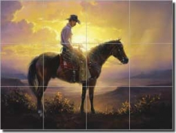 "Thinkin by Jack Sorenson Floor Tile Mural 32"" x 24"" - RW-JS026"